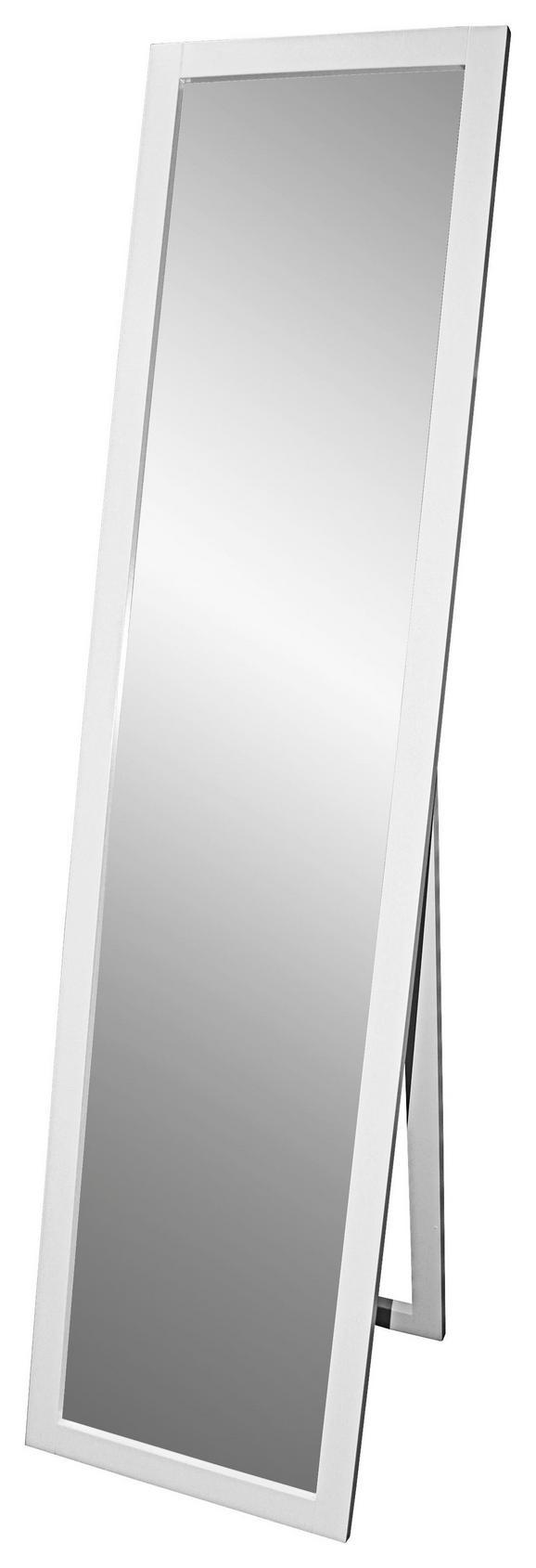Álló Tükör Meggy - Fehér, modern, Faalapú anyag/Üveg (40/160/3,8cm)