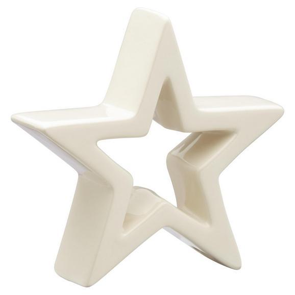 Dekor Csillag Cathy - Fehér, Kerámia (15/4,5/15cm)