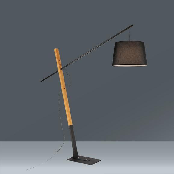 Stehleuchte Kati max. 60 Watt - Schwarz, Holz/Textil (221/42/215cm)