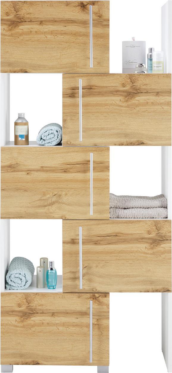 Regalelement in Weiß/Eiche - Chromfarben/Eichefarben, MODERN, Holzwerkstoff/Metall (47-78/164/35cm) - Mömax modern living