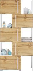 Regalelement Weiß/Eichefarben - Chromfarben/Eichefarben, MODERN, Holzwerkstoff/Metall (47-78/164/35cm) - Mömax modern living