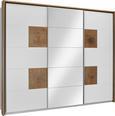 Schiebetürenschrank Weiß/Eiche - Eichefarben/Alufarben, ROMANTIK / LANDHAUS, Glas/Holzwerkstoff (280/230/62cm) - Premium Living