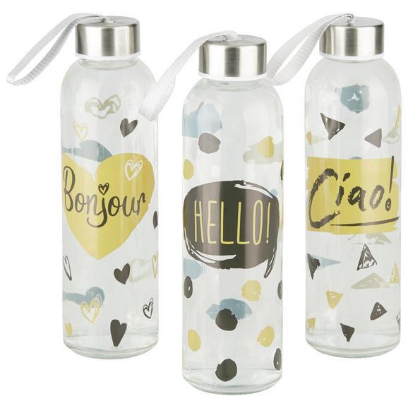 Trinkflasche Annabelle aus Glas - Klar/Goldfarben, Trend, Glas/Kunststoff (6,4/21,7cm) - Mömax modern living