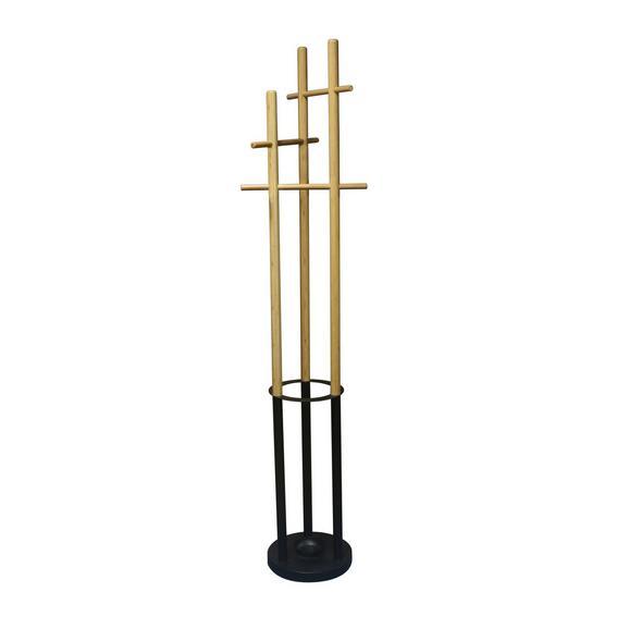 Kleiderständer Rick aus Bambus - Schwarz/Naturfarben, MODERN, Holz/Metall (41/175,5/41cm) - Modern Living