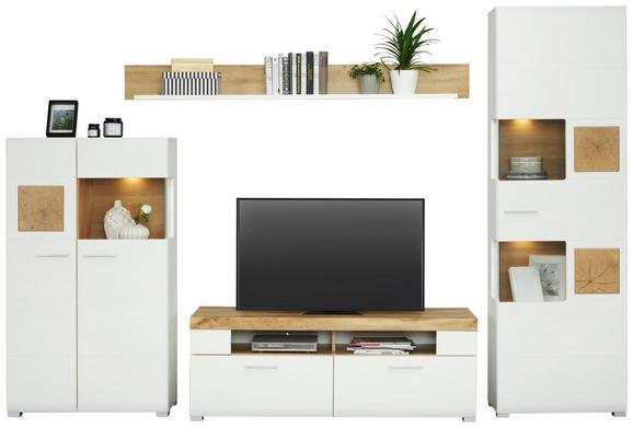 Wohnwand in Weiß inkl. Beleuchtung - Chromfarben/Eichefarben, MODERN, Holzwerkstoff/Metall (325/205/47cm) - Mömax modern living