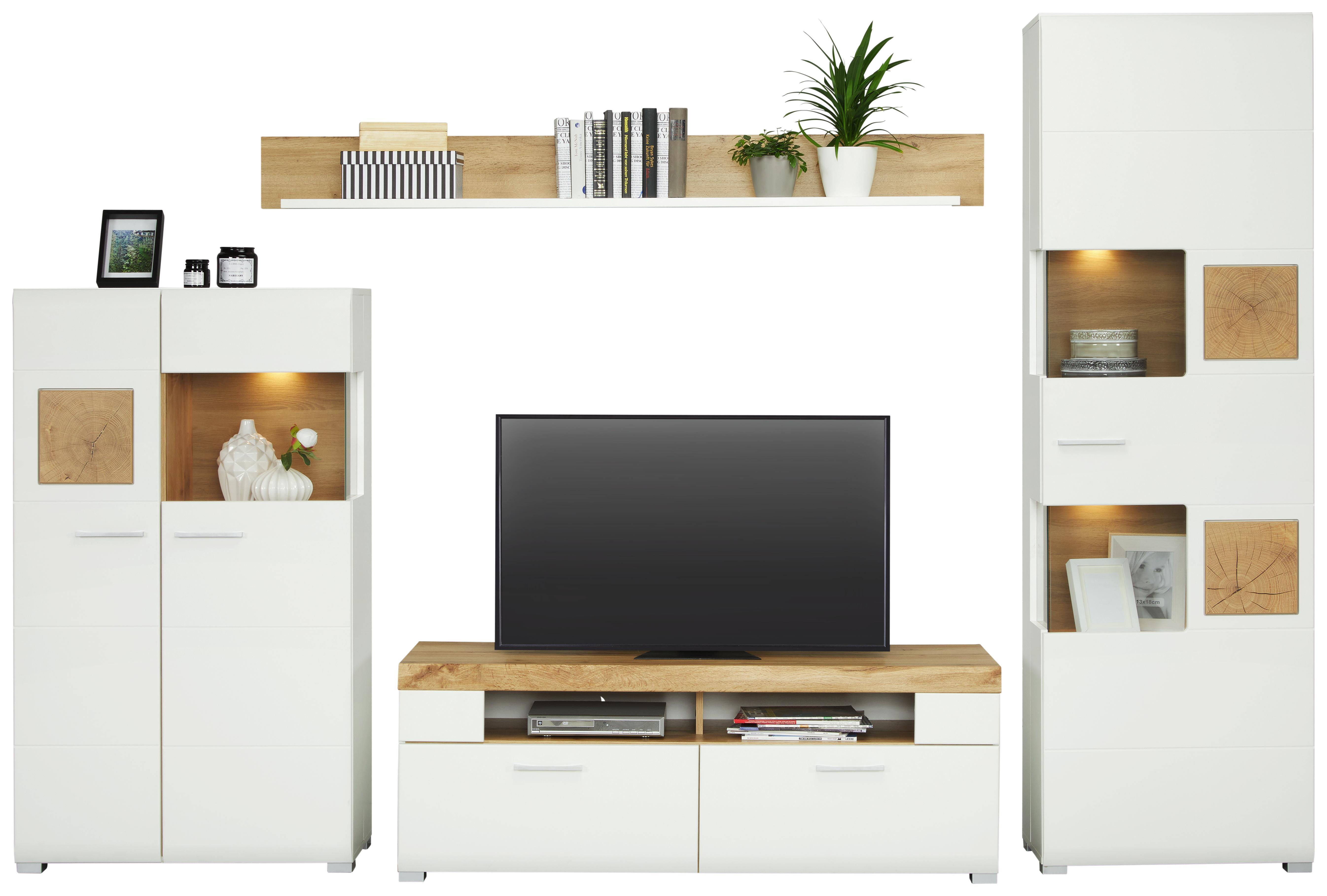 Wohnwand Weiß/Eichefarben   Chromfarben/Eichefarben, MODERN,  Holzwerkstoff/Metall (325