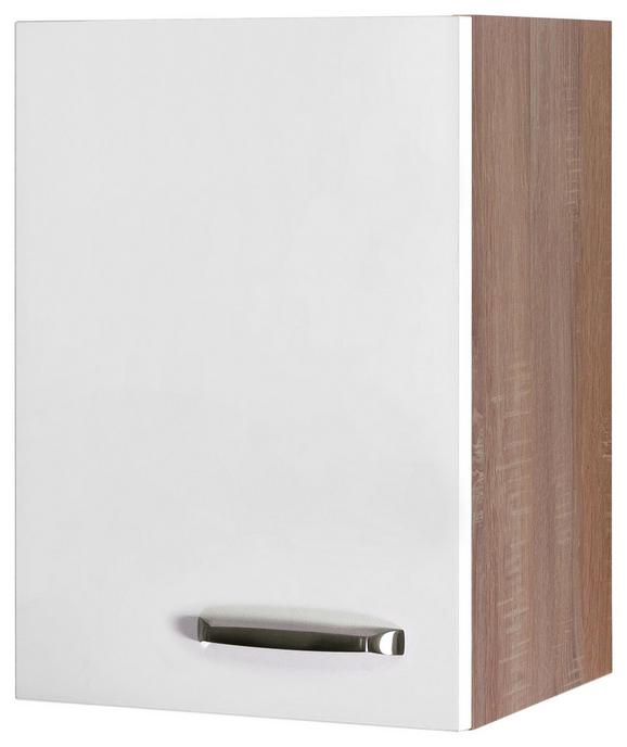 Küchenoberschrank Weiß Hochglanz/eiche - Edelstahlfarben/Eichefarben, MODERN, Holzwerkstoff/Metall (40/54/32cm)