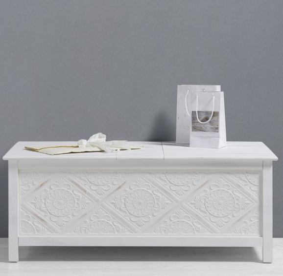 Truhenbank Avery mit Stauraum - Weiß, MODERN, Holz (115/60/45cm) - Premium Living