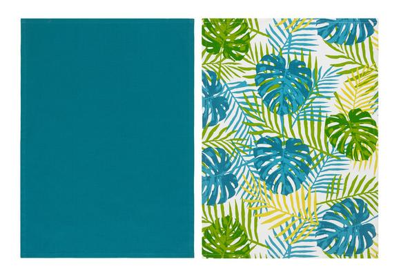 Geschirrtuch-Set Green Leaf In Versch. Designs - Multicolor/Petrol, Textil (50/70cm) - Mömax modern living
