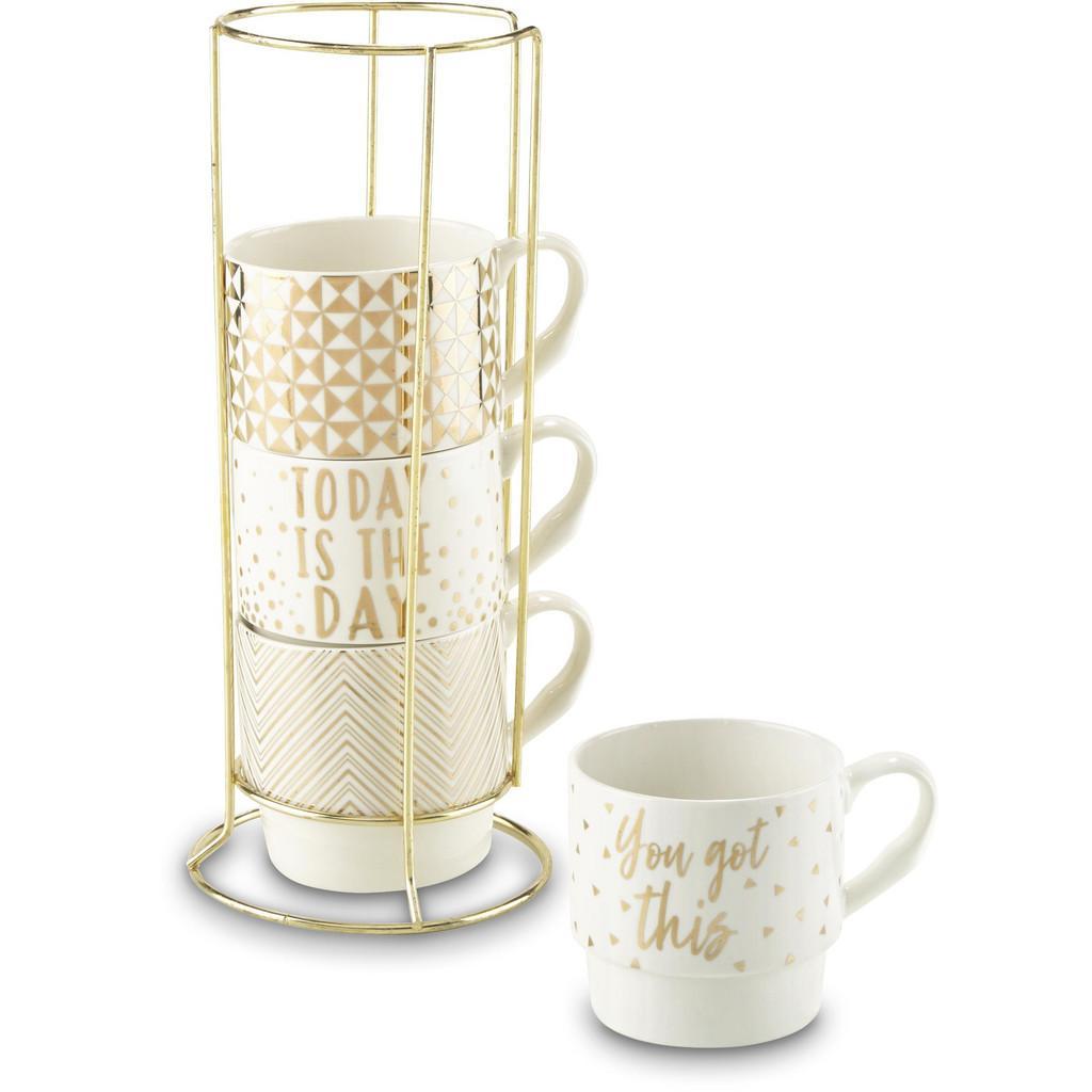 Kaffeetasse Goldy in Weiß/Gold, 4-teilig