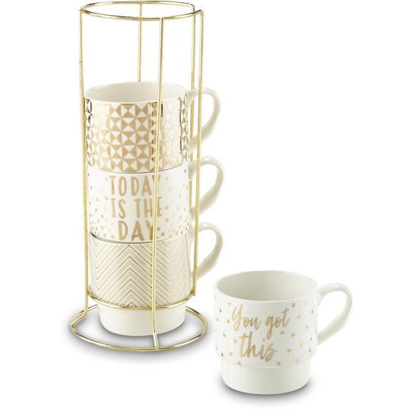 Kaffeetasse Goldy in Weiß/Gold, 4-teilig - Goldfarben/Weiß, MODERN, Keramik/Metall (8,8/8,5cm) - Premium Living