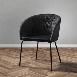 Stuhl Vani - Schwarz, MODERN, Textil/Metall (61/81/51cm) - Modern Living