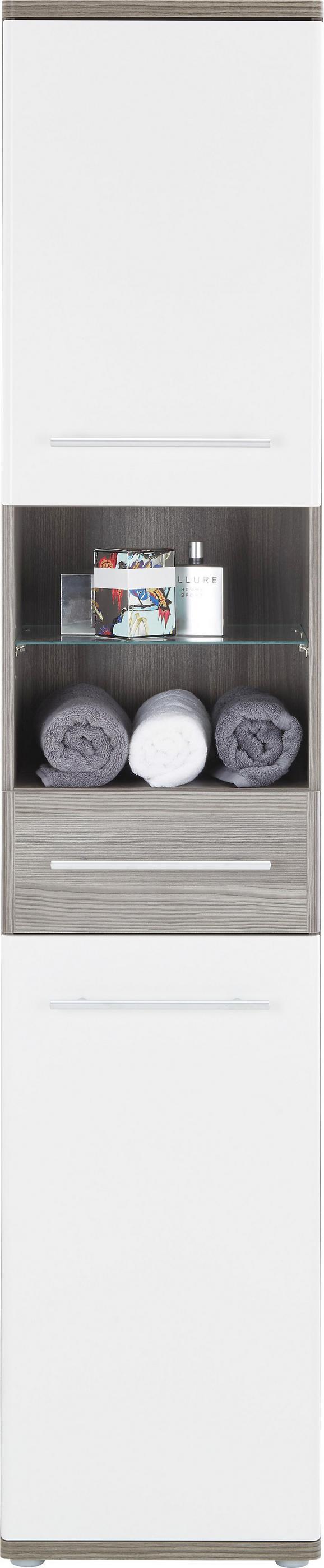 Hochschrank Weiß/Braun - Dunkelbraun/Alufarben, KONVENTIONELL, Glas/Holzwerkstoff (40 195 35cm) - Premium Living