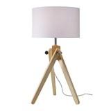 Tischleuchte max. 60 Watt 'Finlay' - Weiß/Kieferfarben, MODERN, Holz/Textil (30/57cm) - Bessagi Home