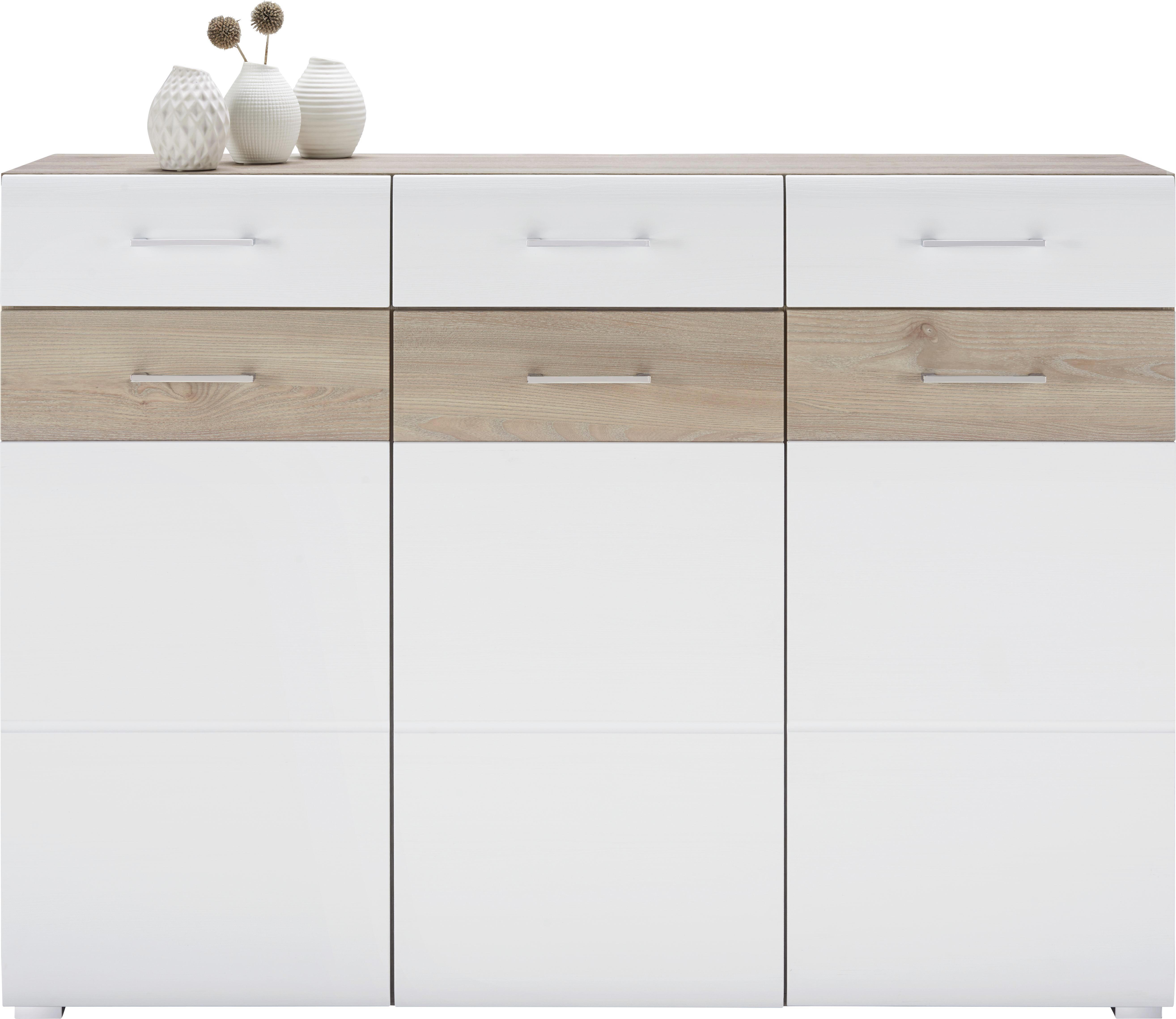 Sideboard in Silbereiche/Weiß - Chromfarben/Silberfarben, MODERN, Holzwerkstoff/Metall (144/104/40cm) - MÖMAX modern living