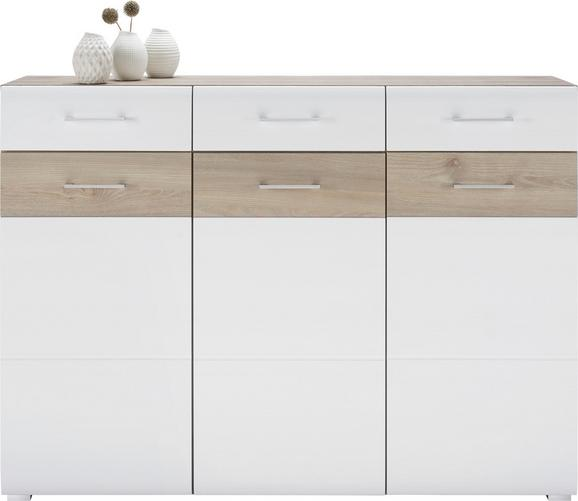 Sideboard Silbereiche/Weiß - Chromfarben/Silberfarben, MODERN, Holzwerkstoff/Metall (144/104/40cm) - MÖMAX modern living