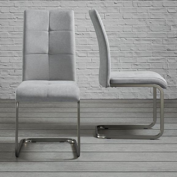 Stuhl Lucie - Chromfarben/Hellgrau, MODERN, Holz/Textil (42,5/98/45cm) - Modern Living