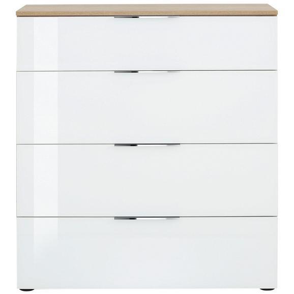 Kommode in Weiß/Eichefarben - Chromfarben/Eichefarben, MODERN, Glas/Holzwerkstoff (90,2ml) - Premium Living