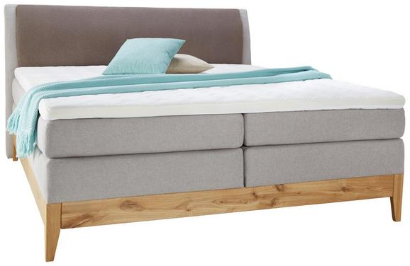 Boxspringbett Grau/Eichefarben ca.180x200cm - Eichefarben/Beige, KONVENTIONELL, Holz/Textil (180/200cm) - Premium Living