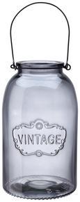 Windlicht Vintage Ø/h ca. 14,3/24 cm - Hellgrau, MODERN, Glas (14,3/24cm) - Mömax modern living