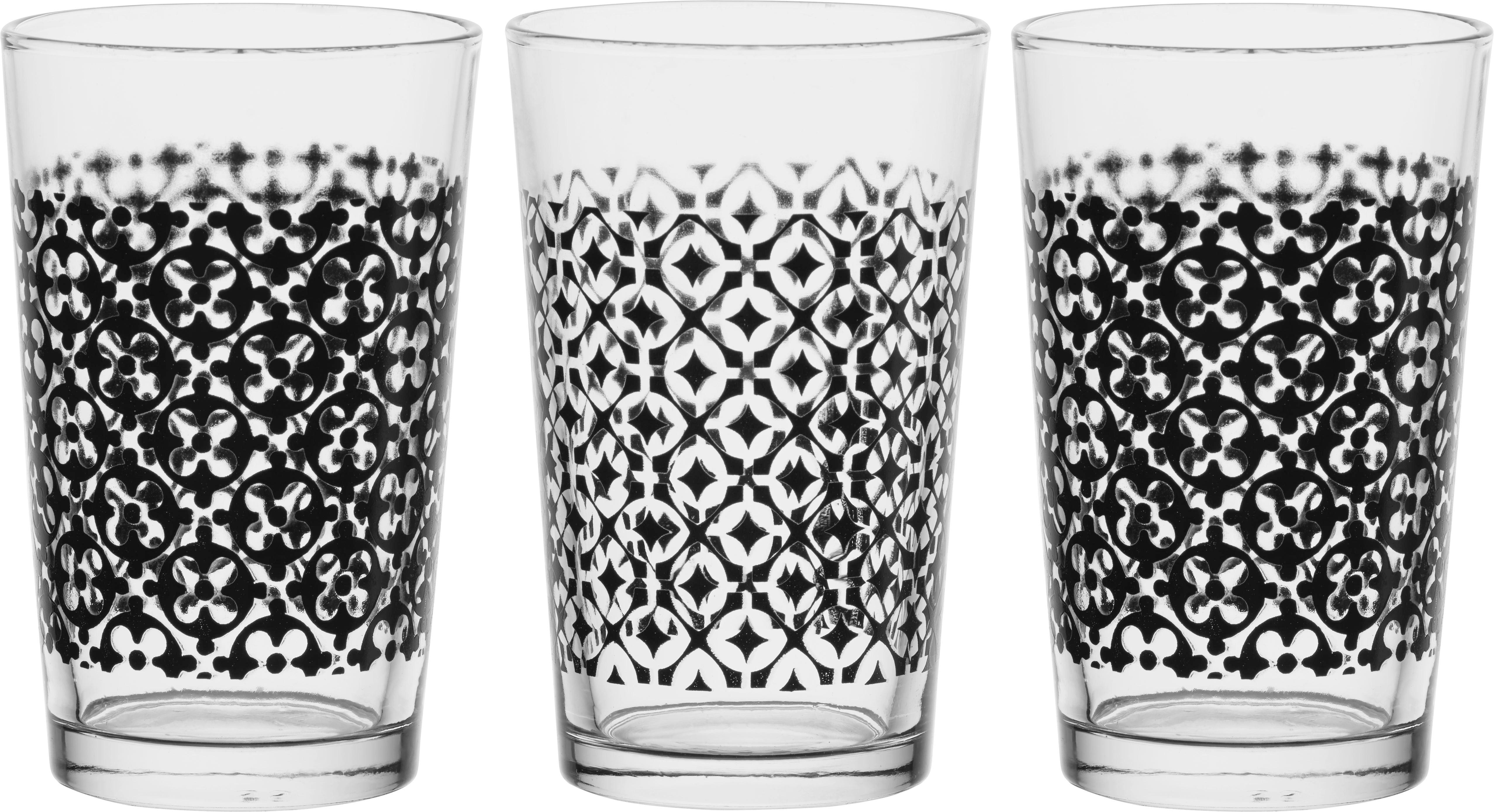 Gläserset Shiva in Schwarz aus Glas - Klar/Schwarz, Glas (6,9/11cm) - MÖMAX modern living