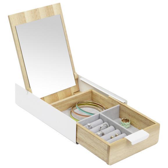 Cutie Decorativă Mirror - alb/culoare natur, sticlă/lemn (23,495/14,3/5,72cm) - Modern Living