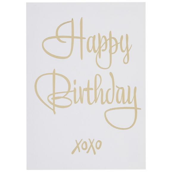 Poskarte Happy Birthday - Goldfarben/Weiß, MODERN, Papier (10,5/14,8cm)