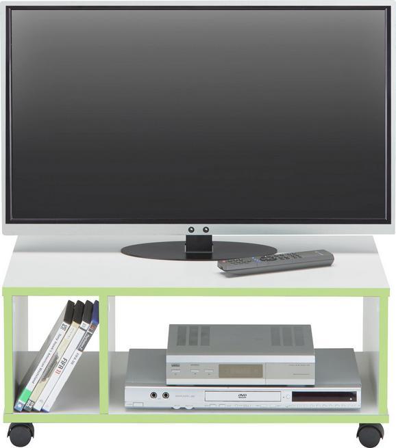 Mizica Za Hi-fi Naprave Flip - bela/zelena, Moderno, umetna masa/leseni material (70/30/38cm) - Based