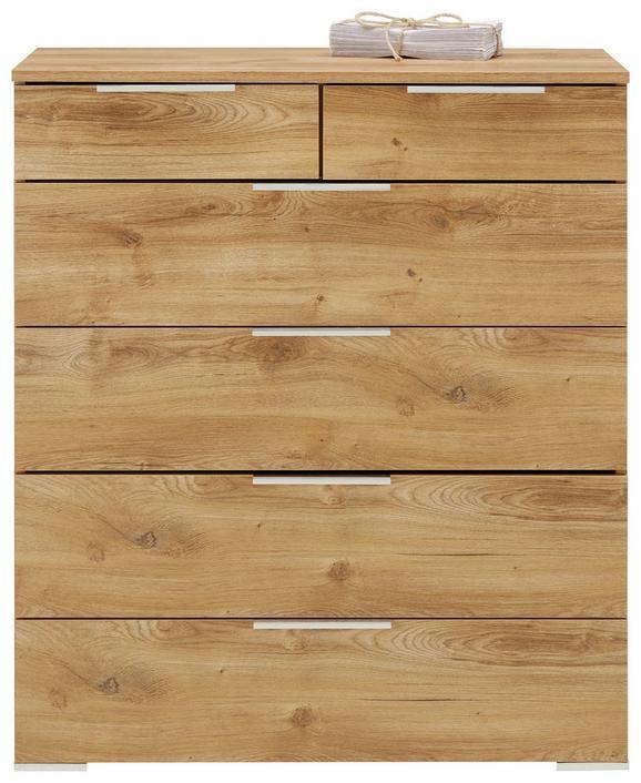 Kommode Grau/Eichefarben - Eichefarben/Schwarz, KONVENTIONELL, Holzwerkstoff/Metall (81/92/41cm) - Premium Living