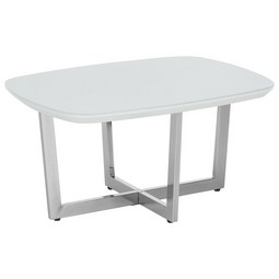 Couchtisch in Weiß mit Glasplatte - Chromfarben/Weiß, MODERN, Glas/Holzwerkstoff (80/40/60cm) - Modern Living