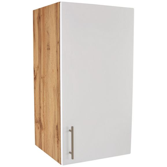 Kuhinjska Zgornja Omarica Stella H50-89 - bela/hrast, kovina/leseni material (50/89/37cm)