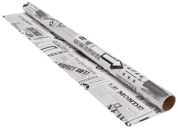 Geschenkpapier Marie in Schwarz/Weiß/grau - Schwarz/Weiß, Papier (70/200cm)
