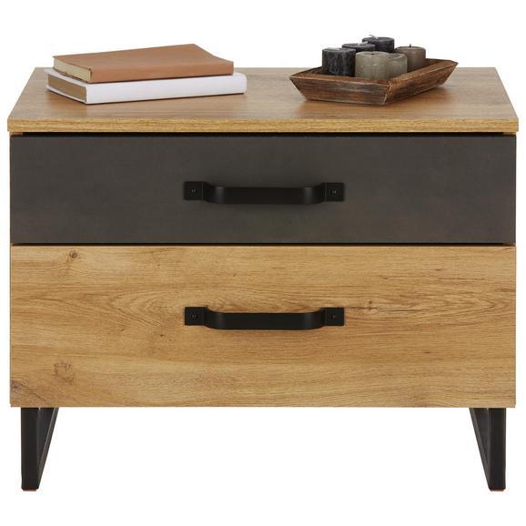 Nočna Omarica Alabama - hrast/rjava, Romantika, kovina/leseni material (58/45/41cm) - Premium Living