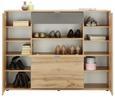 Highboard Sandeiche/Anthrazit - Sandfarben/Eichefarben, MODERN, Holzwerkstoff/Kunststoff (144,0/108,5/37,0cm) - Mömax modern living