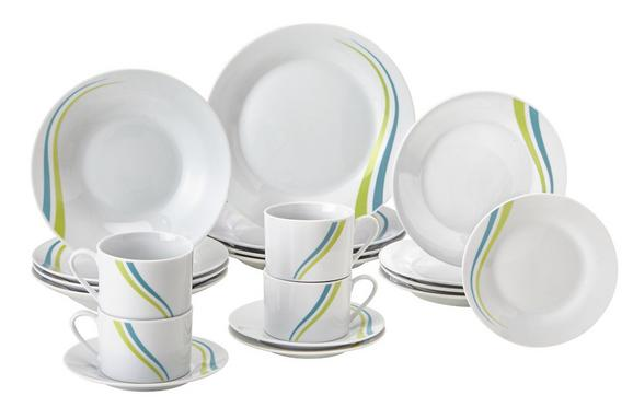 Kombiservice Tina in Weiß/Grün 20-teilig - Türkis/Weiß, Keramik - Mömax modern living