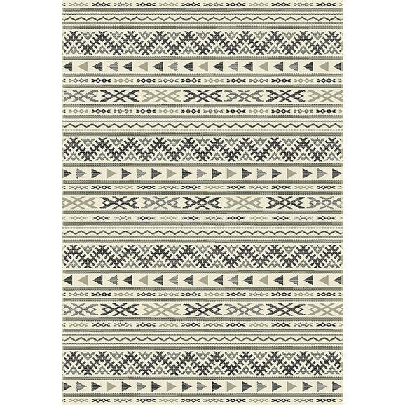 Flachwebeteppich Kelim in Hellgrau ca.80x250cm - Hellgrau/Schwarz, MODERN, Textil (80/250cm) - Mömax modern living