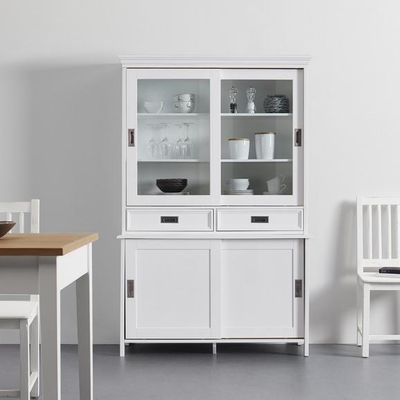 Buffet in weiß 'Irina' - Edelstahlfarben/Weiß, MODERN, Glas/Holz (117,5/182,5/47,5cm) - Bessagi Home