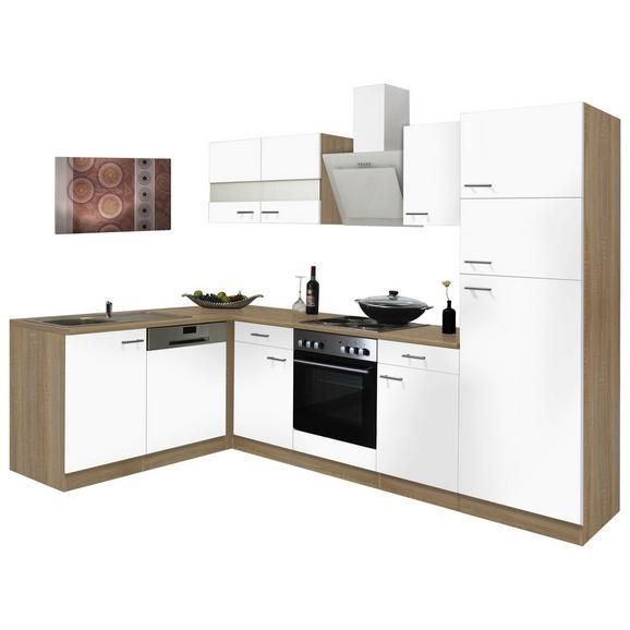 Eckküche ECONOMY L 280 mit Kochmulde - Eichefarben/Weiß, Basics, Glas/Holzwerkstoff (172/280cm) - Livetastic