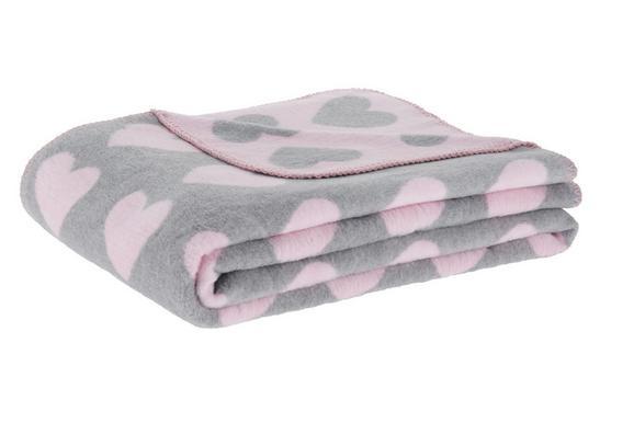 Kuscheldecke Hearts in Rosa/Grau - Rosa/Grau, ROMANTIK / LANDHAUS, Textil (130/170cm) - Mömax modern living