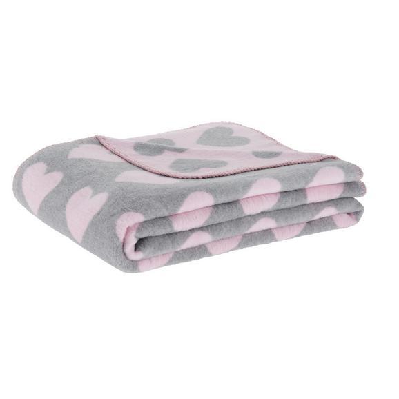 Mehka Odeja Hearts - roza/siva, Romantika, tekstil (130/170cm) - Mömax modern living