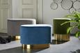 Hocker Blau Samt - Blau, MODERN, Holz/Holzwerkstoff (52/35cm) - MÖMAX modern living