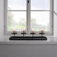 Teelichthalter Malina inkl. Gläser ca. 60/16cm - Schwarz, MODERN, Glas/Metall (60/18/16cm)