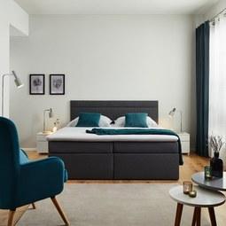 Boxspringbett Rosa ca.180x200cm inkl. Topper - Dunkelgrau, MODERN, Holz/Textil (205/180/103cm) - Modern Living