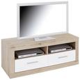 Element Tv Malta - alb/culoare lemn stejar, Modern, lemn (128/50/42cm)