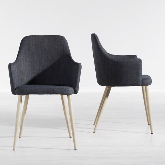 Stuhl Milenka - Dunkelgrau, MODERN, Textil/Metall (58/86/60cm) - Modern Living