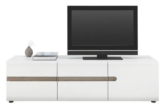TV-Element Weiß Hochglanz - Trüffeleichefarben/Schwarz, MODERN, Holzwerkstoff/Kunststoff (164/46/42cm)