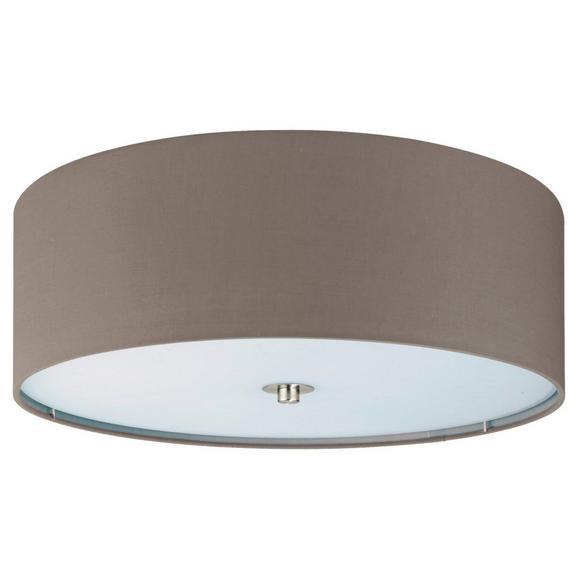 Deckenleuchte max. 60 Watt 'Pasteri' - Taupe/Nickelfarben, MODERN, Textil/Metall (47,5/19,5cm)