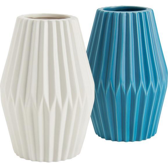Vase Livia in Weiß/Türkis - Türkis/Weiß, Keramik (13/18cm) - Mömax modern living