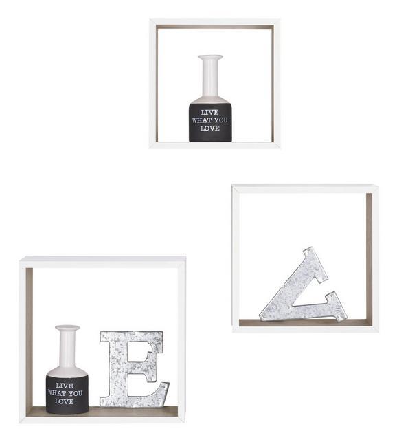 Set Stenskih Regalov Bicolour - 3 V Setu -sb- - bela/hrast, leseni material (30/12/30cm)