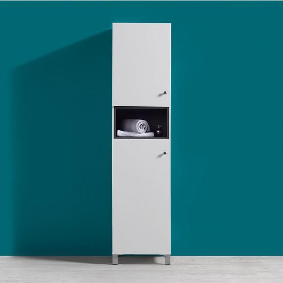 Hochschrank Bianco - Dunkelgrau/Silberfarben, MODERN, Holz/Metall (42,6/175/35cm) - Bessagi Home